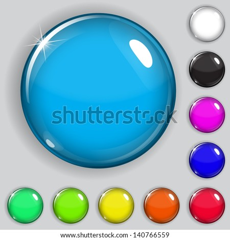 Set of multicolored glass buttons with shadows - stock vector