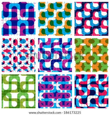Set of multicolored grate seamless patterns with labyrinth and geometric figures, transparent symmetric bright wavy tiles, infinite geometric surface textures with squares and abstract figure. - stock vector