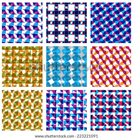 Set of multicolored grate seamless patterns with parallel ribbons and geometric figures, transparent symmetric bright wavy tiles, infinite geometric surface textures with diamonds and squares. - stock vector