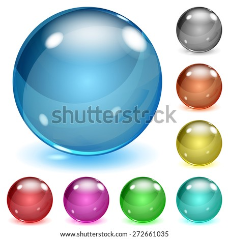 Set of multicolored opaque glass spheres with glares and shadows - stock vector