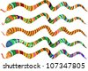 Set of Multicolored Striped Snakes, Symbols of Chinese New Year 2013, Vector Version - stock photo