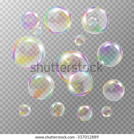 Set of multicolored transparent soap bubbles with glares, highlights and gradients. Custom shapes and colors. EPS 10 vector illustration on light gray background. For your design and business - stock vector