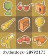 Set of multicolored travel retro icons. Hatched in style of engraving. Vector illustration. - stock vector