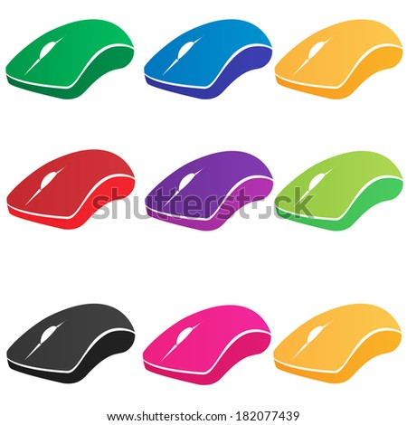 set of multicolored vector computer mouse
