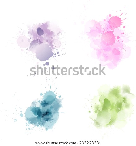 Set of multicolored vector watercolor blot splashes - stock vector