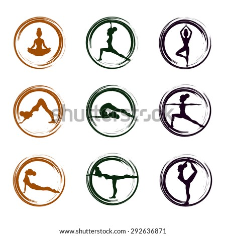 Set of multicolored yoga icons  yoga icons.Different poses.Vector illustration  - stock vector