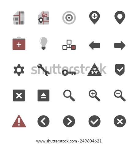 Set of multimedia flat design icons 3 - navigation, security & additional items - isolated on white background - stock vector