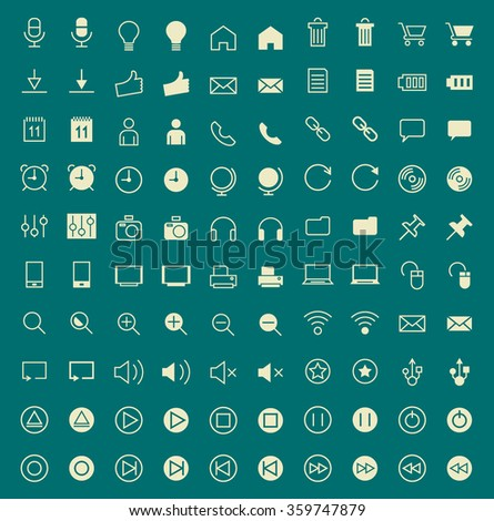 Set of 100 Multimedia Minimal and Solid Icons. Vector Isolated Elements. - stock vector