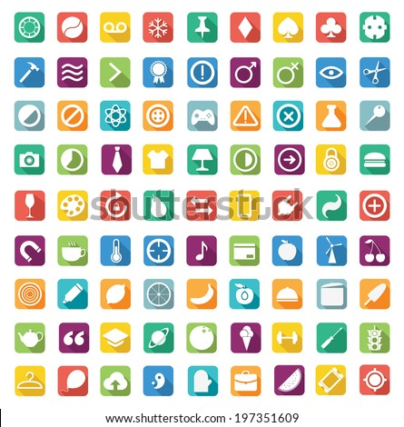 Set of 81 multiple icons. Quality icons (Fruit icons, Chemistry icons, Business icons, Clothes icons, Game icons, Common icons, Mobile icons, Kitchen icons, Science icons, IT icons, Flat icons) - stock vector