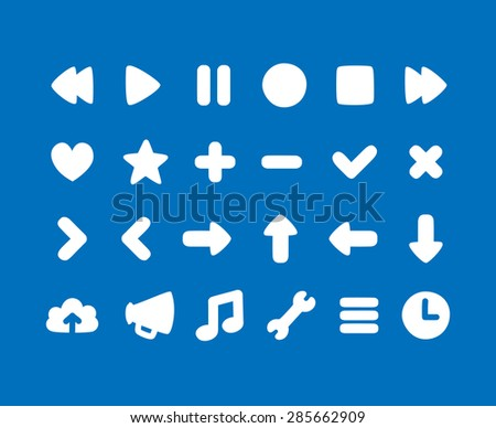 Set of multipurpose rounded interface icons for web or app. Subtly irregular, hand drawn feel. - stock vector
