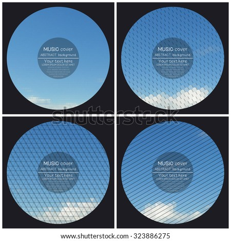 Set of 4 music album cover templates. Blue cloudy sky. Collection of abstract multicolored backgrounds. Natural geometrical patterns. Triangular and hexagonal style vector illustration. - stock vector