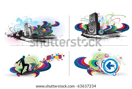 set of music colorful illustration design with used of your project. - stock vector