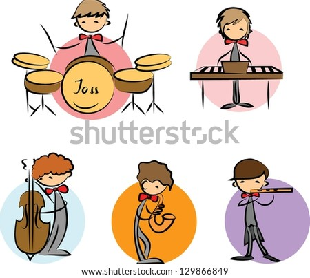 set of Music Doodles - stock vector