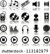 Set of 20 music icons - stock vector