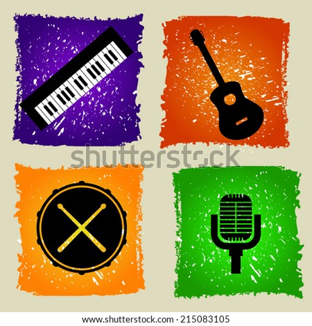Set of  music icons in flat design on colorful grunge background. Guitar. Drums. Microphone. Keyboard - stock vector