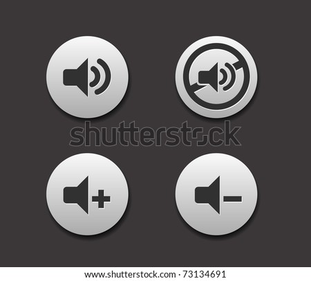 Set of Music Icons on circle button collection Original Illustration. - stock vector