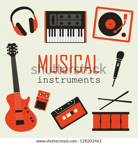 Set of Music Instruments - stock vector