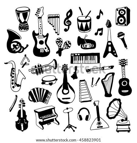 Set of Music Instruments. Beautiful vector design. - stock vector