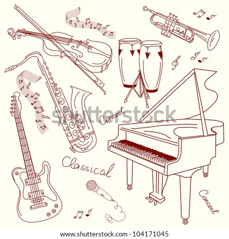 Set of Music Instruments, hand drawn in vector - stock vector