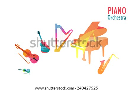 Set of Music Instruments in Piano Orchestra, Vector Illustration - stock vector