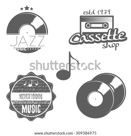 Set of music labels with some music elements: gramophone disk (record), sound key, sound waves, cassette, note. Jazz music badge. Only good music emblem. Vector illustration. - stock vector