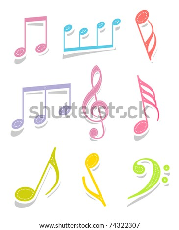 Set of music note labels - stock vector