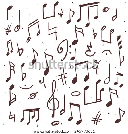 Set of music notes, hand drawn illustration - stock vector