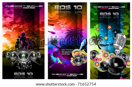 Set of 3 Music Party Disco Flyer with Exceptional Glow of lights - stock vector