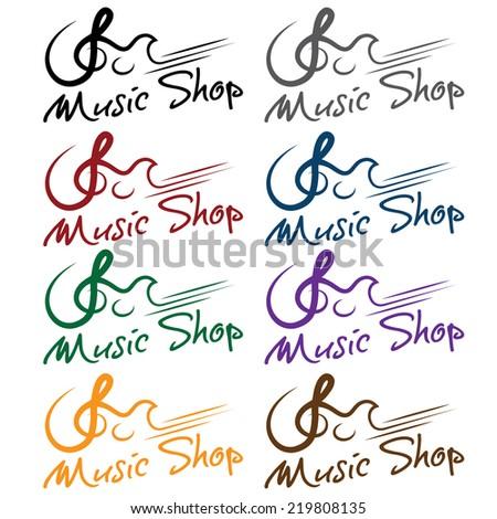 set of music shop emblems - stock vector
