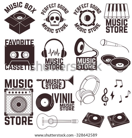 Set of music shop labels and badges. Music icons. Vector illustration. - stock vector