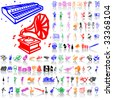 Set of music sketches. Part 8. Isolated groups and layers. Global colors. - stock photo