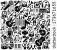 Set of musical elements, vector black isolated musical icons. - stock vector