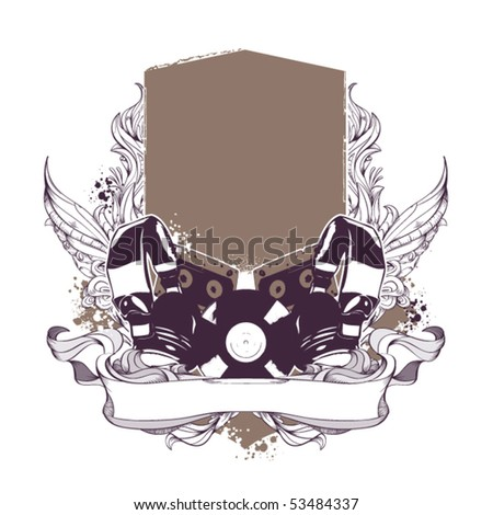 Set of musical grunge elements with banner. Vector illustration.