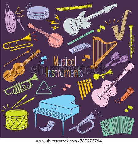 Set Of Musical Instrument Hand Drawing In A Pastel Color Isolated Over Dark Background