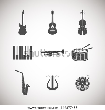 set of musical instrument icons - stock vector