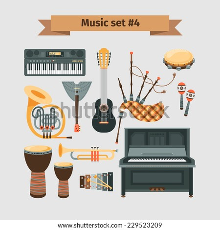Set of Musical Instruments - stock vector