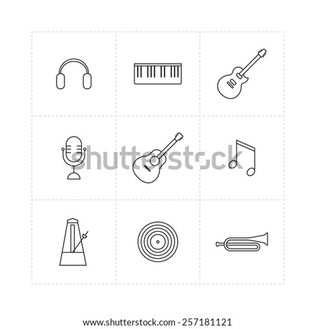 Set of musical instruments thin line icons - stock vector