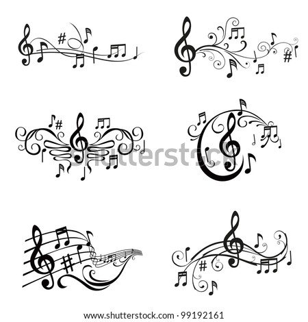 Set of Musical Notes Illustration - in vector - stock vector