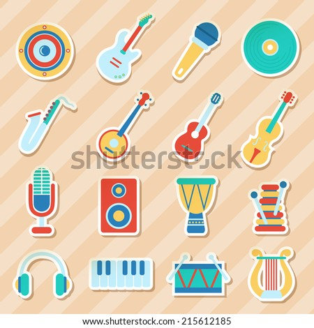 Set of musical stickers. Vector illustration, flat style - stock vector