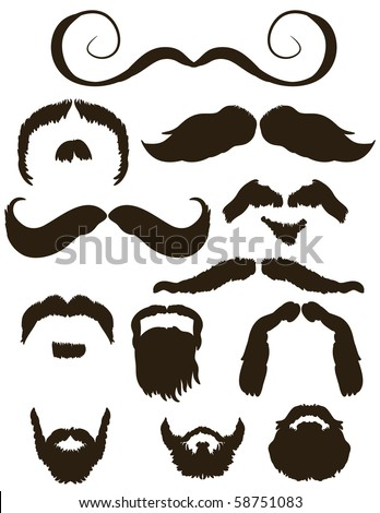 Set of mustache and beard silhouettes - stock vector