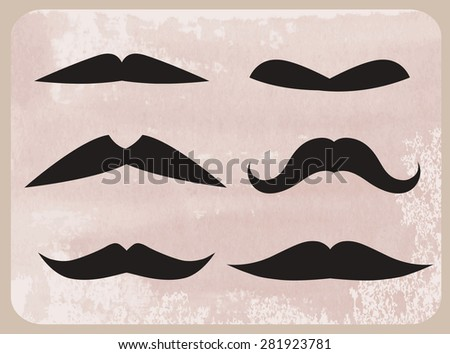 Set of mustache of different shapes. Vector illustration. - stock vector