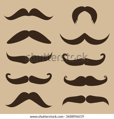 Set of mustache on retro style background, vector illustration