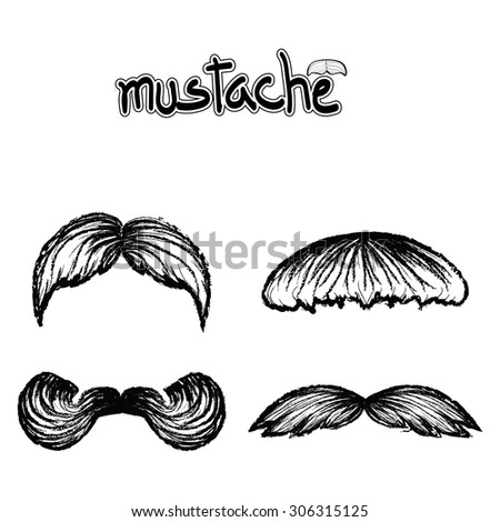 Set of mustache vector on white background , hipster collection