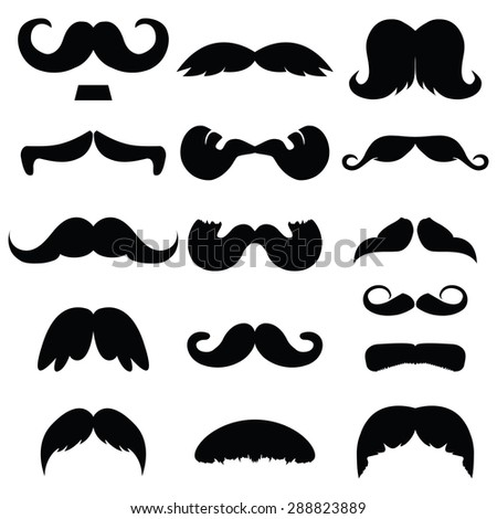 Set of mustache vector on white background , hipster moustache collection