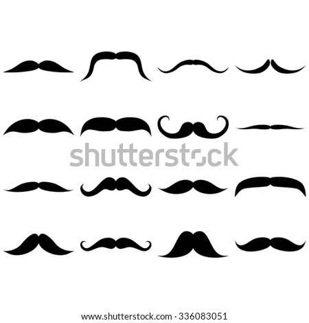 Set of mustaches icons on white background - vector illustration