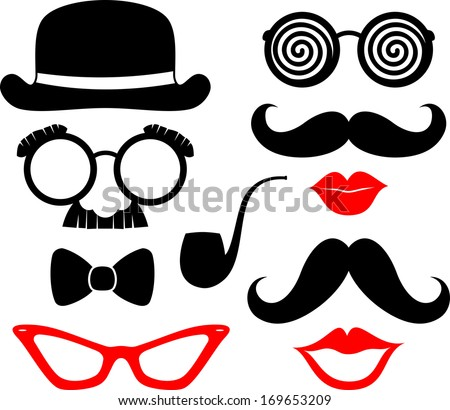 set of mustaches, lips and eyeglasses silhouettes and design elements for party props isolated on white background - stock vector
