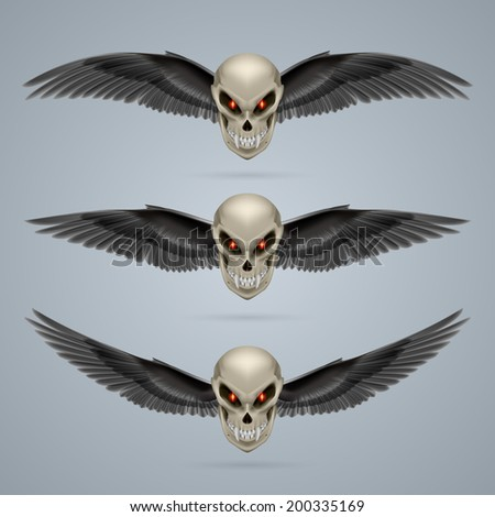 Set of mutant skulls with long fangs and black wings - stock vector