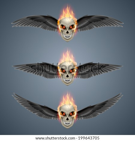 Set of mutant skulls with orange flame and black wings - stock vector