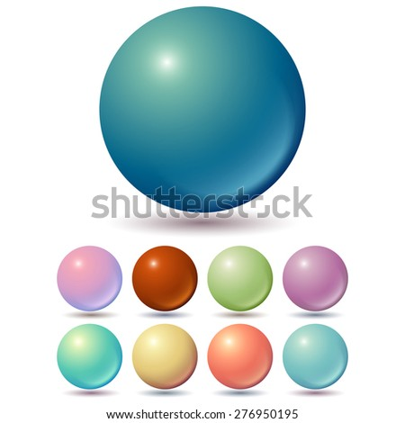 Set of muted color balls with unusual gradients. - stock vector