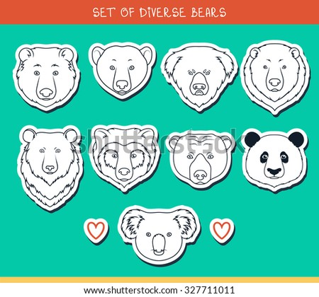 Set of 9 muzzles stickers bears handmade in linear style. Faces of bears. Breeds of bears. Species of bears. American black bear. Bear set. Spectacled Bear. Asiatic bear. Panda, koala - stock vector